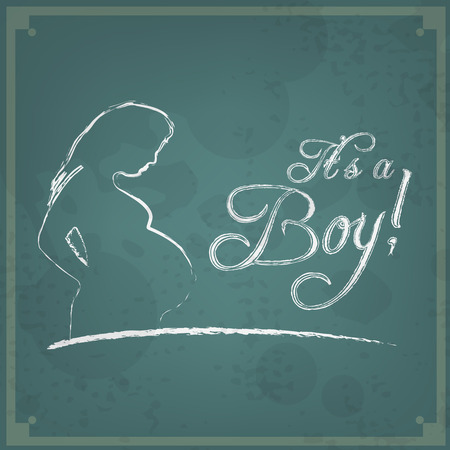 its a boy: Its a boy! Retro announcement card. Baby shower Illustration