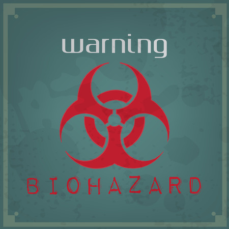 Abstract vintage background. Brushed illustration with biohazard sign Vector