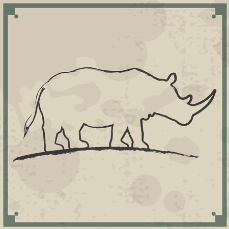 Abstract vintage background. Brushed illustration with a rhino Vector