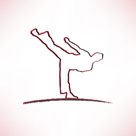 Icon of a silhouette doing standing side kick Vector