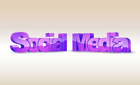3d word social media on bright background Vector