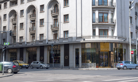 gucci store: BUCHAREST, ROMANIA - MAY 09: Gucci Store On May 18, 2014 In Bucharest, Romania. Gucci was founded by Guccio Gucci in Florence in 1921