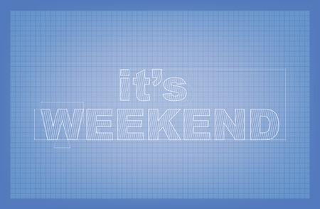 week end: Es fin de semana! Dibujo estilizado de texto en papel plano. Vectores
