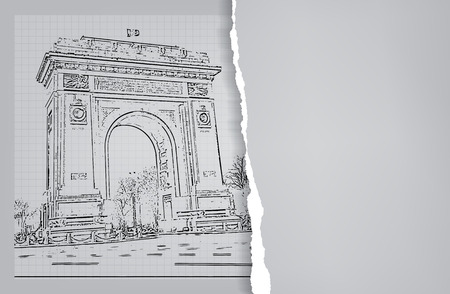 Arc de triomphe - Bucharest, Romania. Background with space for text. Illustration