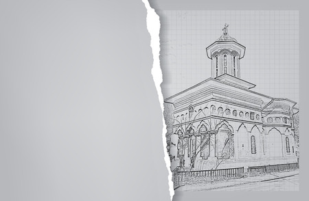 Architecture. Sketch. Drawing of orthodox church.City. Space for text Vector