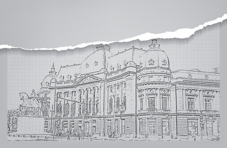 Architecture of a romania building. Sketch. Drawing of building.City. Space for text