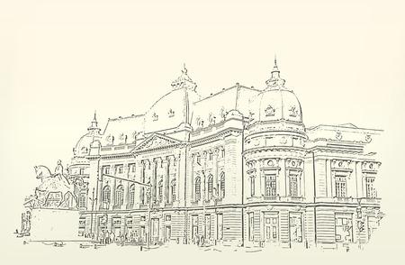 Arquitectura del edificio. Sketch. Dibujo de building.City. Espacio para el texto Foto de archivo - 29857986