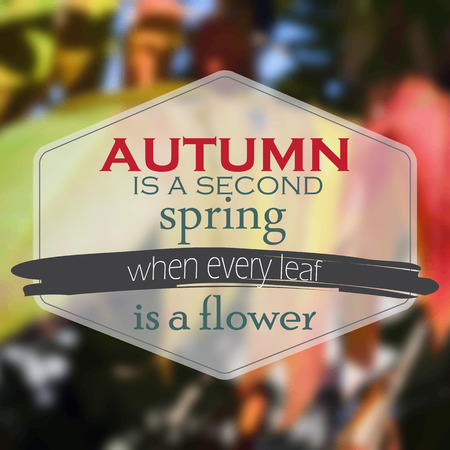 Autumn is a second spring when every leaf is a flower. Autumn Background Vector
