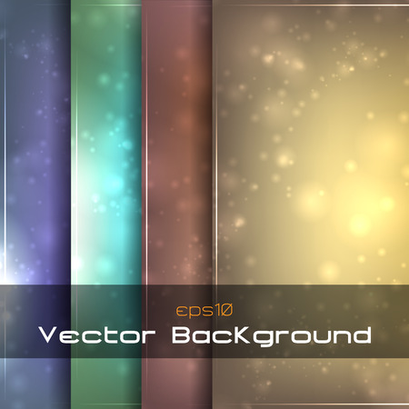 Vector blurry glowing bokeh backgrounds with sparkles.
