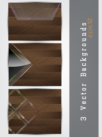 panels: Vector wood background set with glass panels