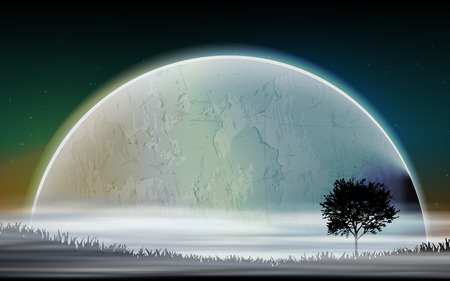 cosmology: Space landscape with silhouettes and planets Illustration