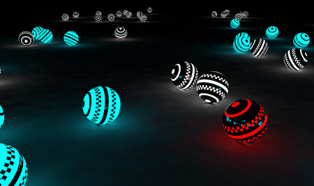be different: Bright glowing spheres in a random display. Leadership or Be different concept 3D illustration. Space for your text.