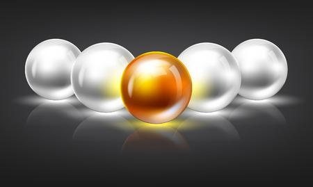 etre diff�rent: Sph�res rougeoyantes lumineuses dans un affichage al�atoire. Leadership ou �tre diff�rent illustration concept de 3D. Espace pour votre texte. Illustration