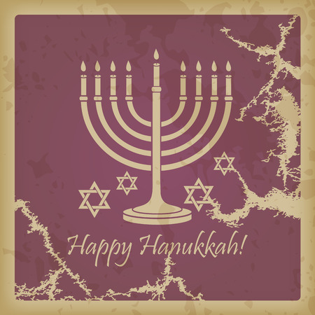 Happy Hanukkah vintage background with space for text Vector