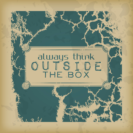 outside box: Always think outside the box. Retro motivational poster Illustration