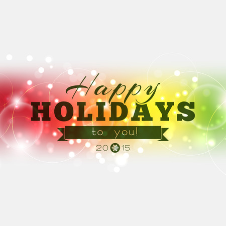 happy holidays: Happy Holidays to you 2015! Multicolor Christmas poster Illustration