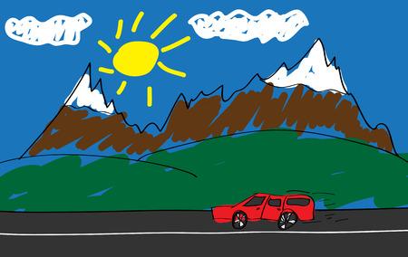 montañas caricatura: Gráfico del niño de un coche rojo en la carretera en las montañas.
