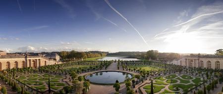 L'Orangerie garden and pond in Versailles palace in Paris, France