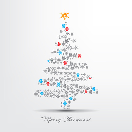 Minimalist Merry Christmas colorful abstract tree with and snowflakes composition. Vector