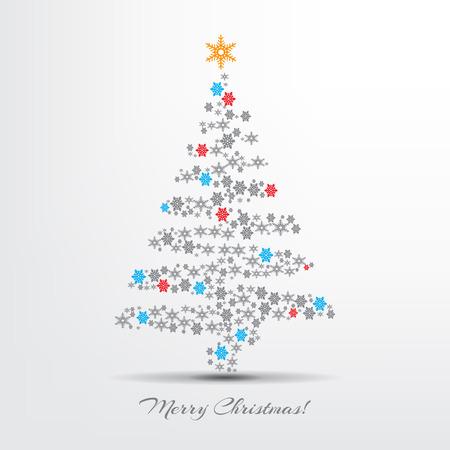 minimalista: Minimalista Merry Christmas színes absztrakt fa és a hópelyhek összetételét.