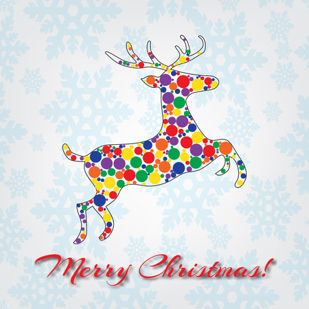 Merry Christmas colorful abstract reindeer with dots composition. Vector