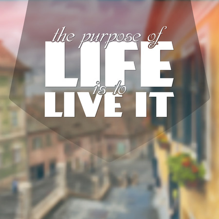 The purpose of life is to live it. Motivational poster Vector