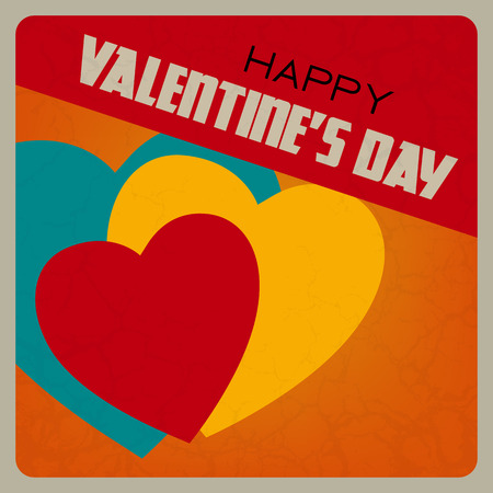 14 february: Happy Valentines Day poster. Retro love background with red heart Illustration