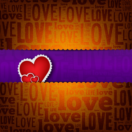 Valentines Day background with heart shapes. Love poster Vector