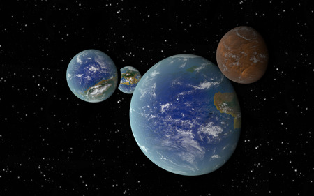 orbiting: 3D rendering with 3 Earth like planets in deep space with an orbiting brown moon Stock Photo
