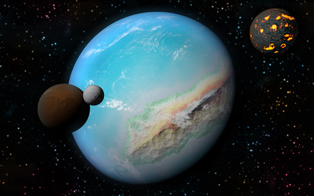 astrophysics: 3D rendering with 1 Earth like planet in deep space with orbiting brown moon, one ice moon and one creating moon Stock Photo