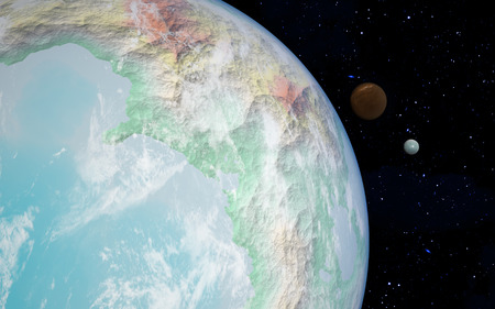 moons: 3D rendering with 1 Earth like planet in deep space with two orbiting moons Stock Photo