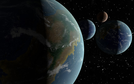3D rendering Earth like planets in deep space with an orbiting brown moon photo