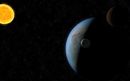 moons: 3D rendering with 1 Earth like planet in deep space with two orbiting moons and one sun.