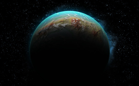 3D rendering with 1 Earth like planet in deep space. Sci-fi fantasy image of a new planet and space. photo