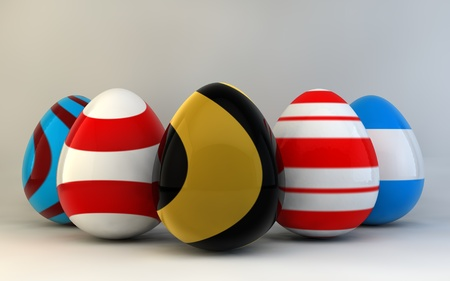 Colorful Easter eggs. 3d render illustration. with space for text illustration