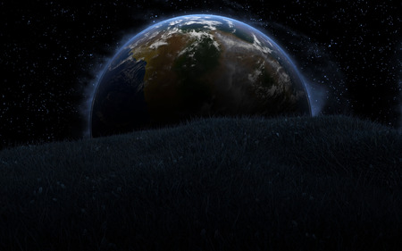 desolation: 3D rendering with 1 Earth like planet in deep space. Sci-fi fantasy image of a new planet and space.
