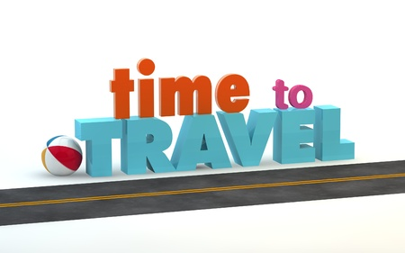 tourist guide: Time to travel. 3D motivational poster.3D text with long shadow