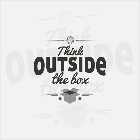think out of box: Think outside the box. Motivational poster. Minimalist background