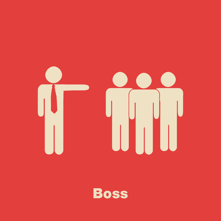 bossy: Minimalist Boss Concept Illustration with crowd on red background Illustration
