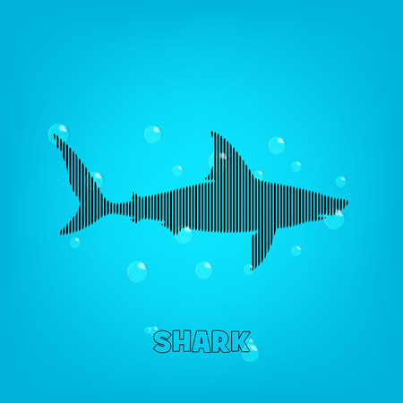 sea creature: Shark blue background with a bars shark and bubles. Illustration