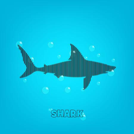 natacion: Tiburón fondo azul con un tiburón y bubles bares.