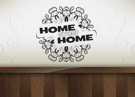 Home sweet home. Motivational poster. Minimalist background