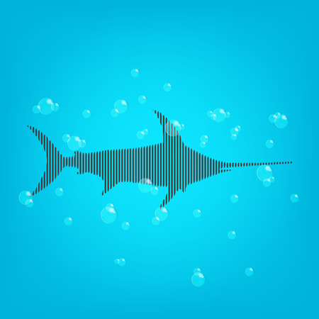 water: Fish blue background with a bars shark and bubles.