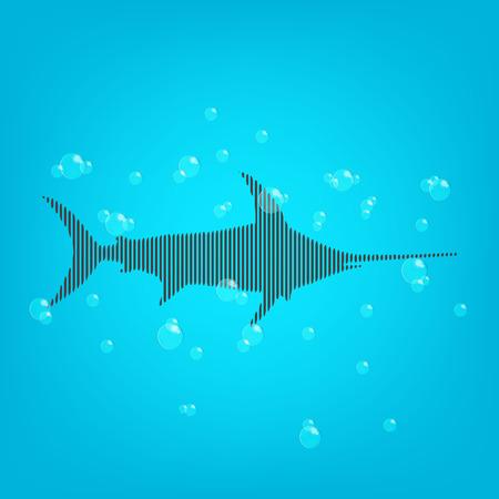 agua: Fondo azul de los pescados con un tiburón y bubles bares.
