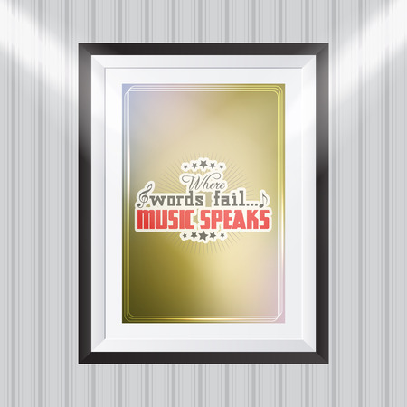 where: Where words fail... music speaks. Motivational poster. Minimalist background Illustration