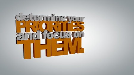 priorities: Determine your priorities and focus on them! 3D Motivational poster. Minimalist background with space for your text.