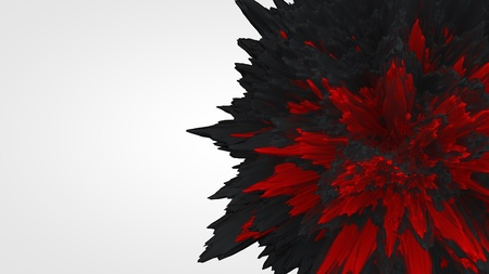 empty space for text: Abstract 3d rendering of chaotic shape. Black and red shape with empty space for text
