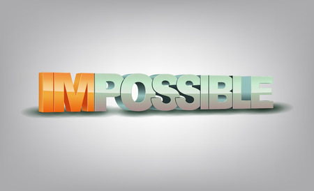 impossible: Word impossible transformed into possible, motivation concept Illustration