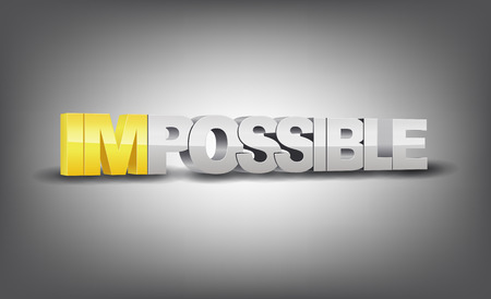 possible: Word impossible transformed into possible, motivation concept Illustration
