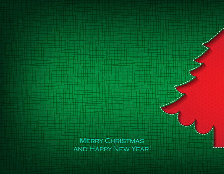 red card: Merry Christmas and happy new year! Christmas card. Christmas tree.